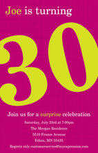 Turning 30 Stylish Magenta Birthday Invitations