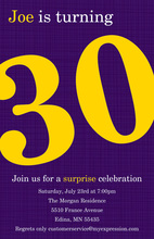 Turning 30 Trendy Purple Birthday Invitations