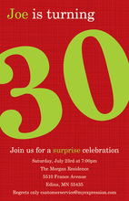 Turning 30 Elegant Red Birthday Invitations