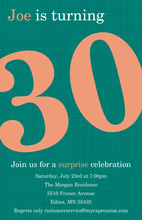 Turning 30 Perfect Teal Birthday Invitations