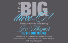 BIG Three-O Blue Birthday Invitations
