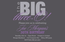 BIG Three-O Lavender Birthday Invitations