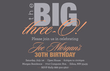 BIG Three-O Sassy Orange Birthday Invitations