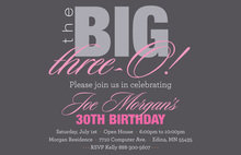 BIG Three-O Softy Pink Birthday Invitations