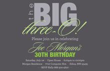 BIG Three-O Sage Birthday Invitations