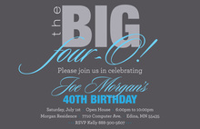 BIG Four-O Elegant Blue Birthday Invitations