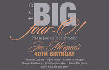 BIG Four-O Chic Orange Birthday Invitations