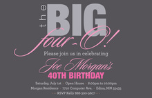 BIG Four-O Trendy Pink Birthday Invitations