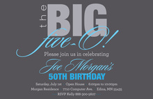 BIG Five-O Excellent Blue Birthday Invitations