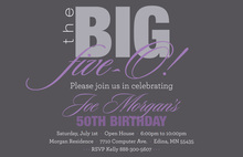 BIG Five-O Classy Lavender Birthday Invitations