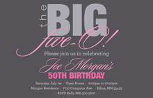 BIG Five-O Fascinating Pink Birthday Invitations