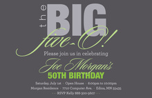 BIG Five-O Formal Sage Birthday Invitations