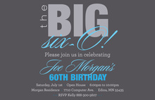 BIG Six-O Fascinating Blue Birthday Invitations