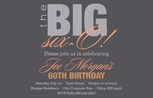 BIG Six-O Modern Orange Birthday Invitations