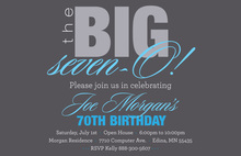 BIG Seven-O Blue Birthday Invitations