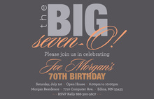 BIG Seven-O Sleek Orange Birthday Invitations