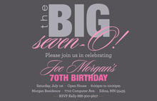 BIG Seven-O Pink Birthday Invitations