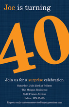 Turning 40 Formal Blue Birthday Invitations