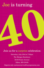 Turning 40 Fancy Magenta Birthday Invitations