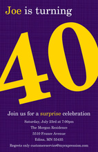 Turning 40 Trendy Purple Birthday Invitations