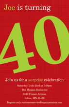 Turning 40 Formal Red Birthday Invitations
