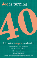 Turning 40 Modern Teal Birthday Invitations