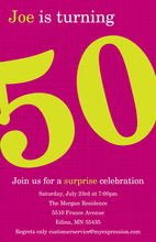 Turning 50 Magenta Birthday Invitations
