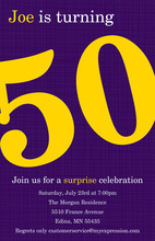 Turning 50 Modern Purple Birthday Invitations