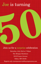 Turning 50 Chic Red Birthday Invitations