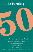 Turning 50 Excellent Teal Birthday Invitations