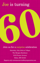 Turning 60 Modern Magenta Birthday Invitations