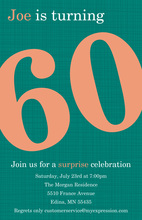 Turning 60 Perfect Teal Birthday Invitations