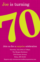 Turning 70 Magenta Birthday Invitations