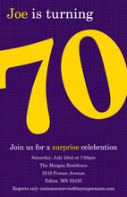 Turning 70 Excellent Purple Birthday Invitations