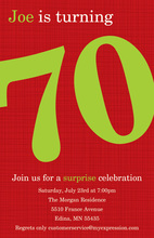 Turning 70 Red Celebration Birthday Invitations