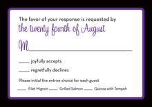 Stylish Purple Black Border RSVP Cards