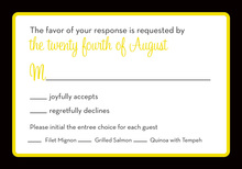 Formal Yellow Black Border RSVP Cards