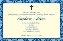 Stylish Damask Baptism Blue Invitations