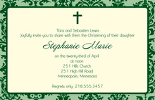 Trendy Damask Baptism Green Invitations