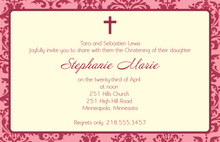 Modern Damask Baptism Pink Invitations