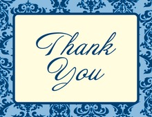 Modern Damask Border Blue Thank You Cards