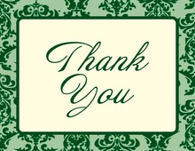 Trendy Green Damask Border Thank You Cards