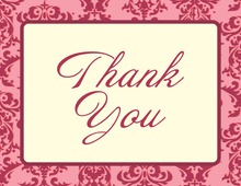 Stylish Damask Pink Thank You Cards