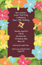 Multicolored Hibiscus Border Floral Invitations