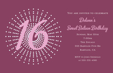 Very Sweet 16 Dot Burst Invitations
