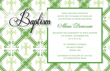 Green Crosshatch Plaid Invitations