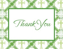 Green Crosshatch Plaid Thank You Cards