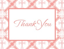 Pink Crosshatch Pattern Thank You Cards