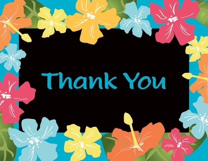 Multicolored Hibiscus Border Thank You Cards