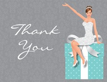 Glamour Brunette Bride Teal Thank You Cards